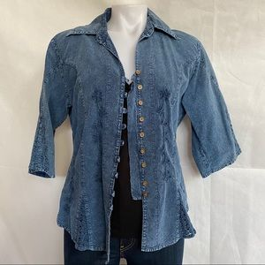 Sculls | VTG | Embroidered Western Style Button